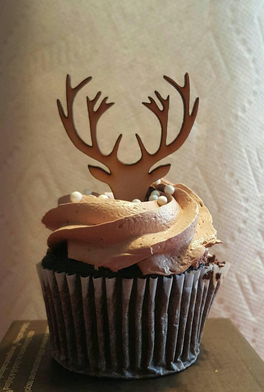 Wooden Deer Cupcake Topper Antlers Grooms Groom Bachelor Cup Cake Party Mens Birthday Boy