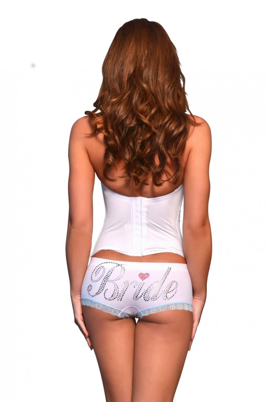 Düğün - Bride Underwear White and Blue with Rhinestone Bride wedding day underwear