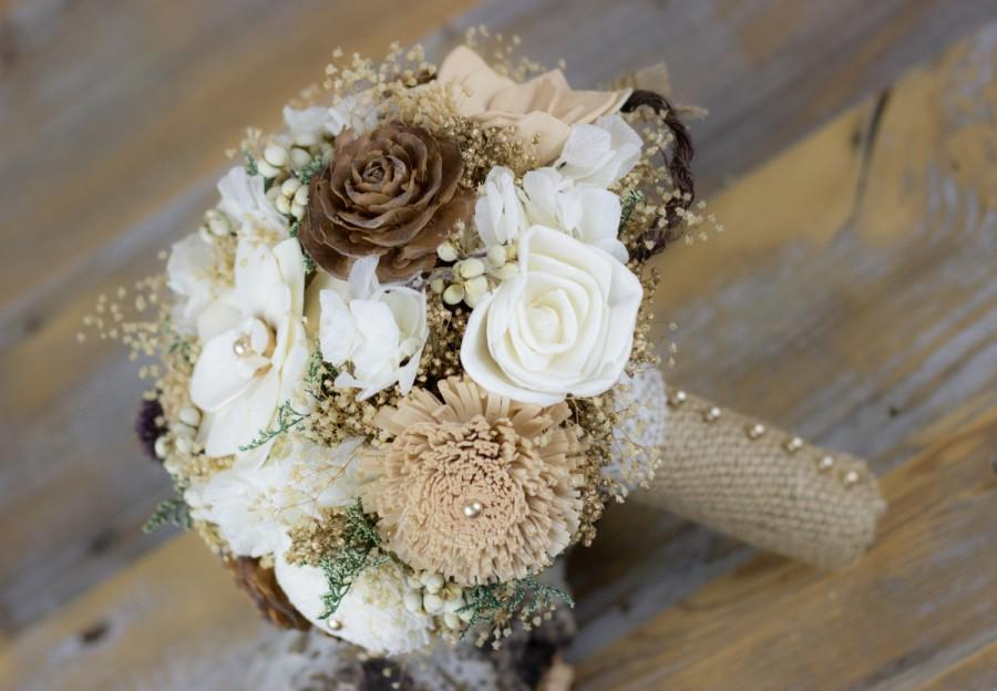 Свадьба - Wedding Bouquet, Bridal Bouquet, Woodland Sola Flower Bouquet, Tan/Natural/ Brown Bridal Bouquet, Keepsake Bouquet,Handmade Bridal Bouquet