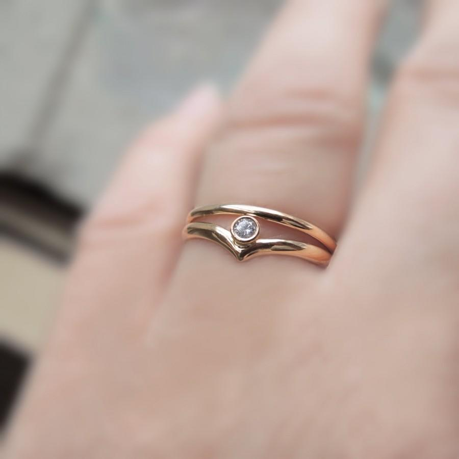 Chevron Engagement Ring Set - Wedding Set - Eco-Friendly Sustainable ...
