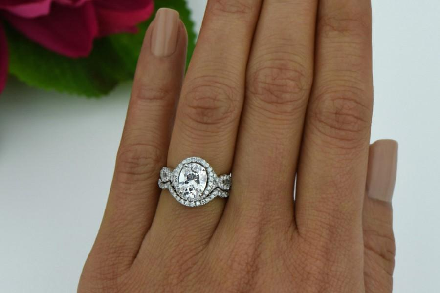 2 5 Ctw Oval Twisted Halo Bridal Set Infinity Engagement Ring Man