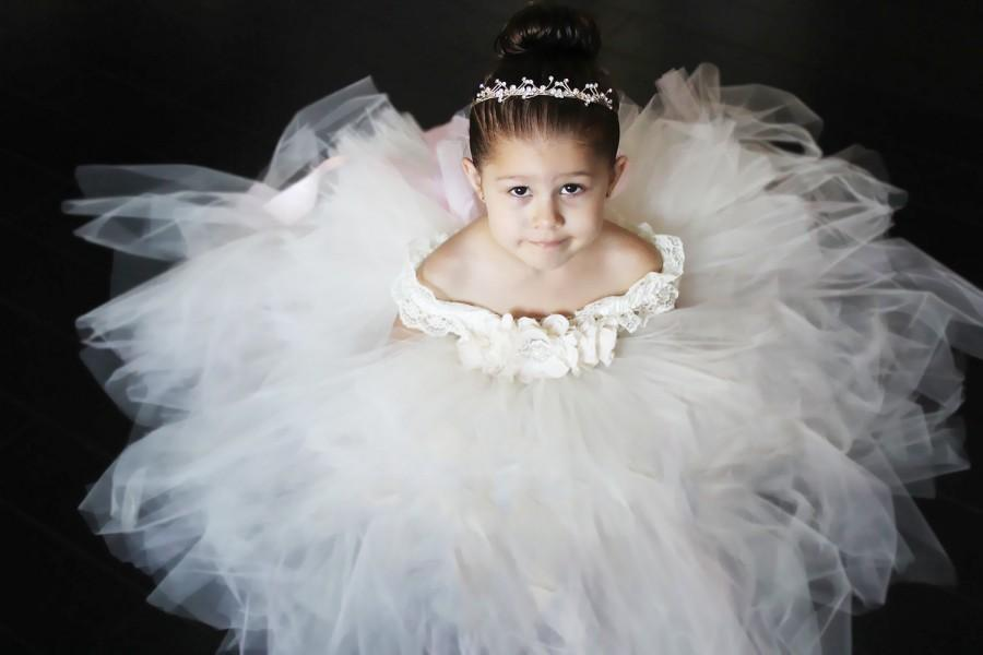 0219a0b4448 Flower Girl Dress, Ivory Dress, Feather Flower Girl Tutu Dress, Plum ...