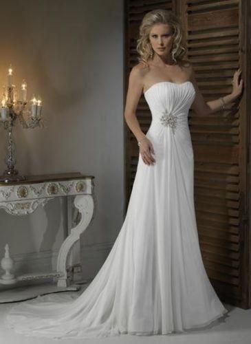 Wedding - Pleat Chiffon Beach Wedding Dresses