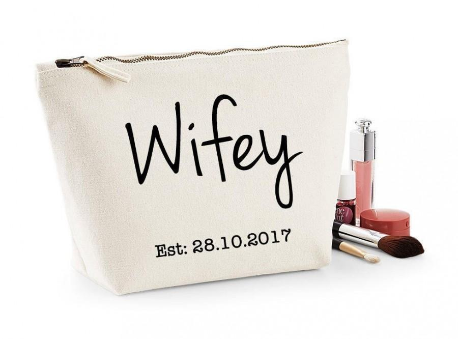 Mariage - Personalised Bride To Be, Wifey Makeup & Wash Bag, Honeymoon, Wedding Day Gift