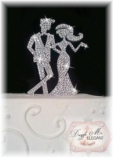 Wedding - Bride and Groom Cake Topper - Crystal Cake Topper - Custom Wedding Cake Topper