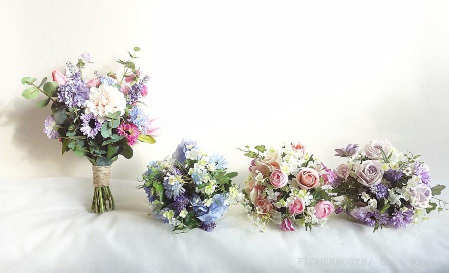 Wedding - Meadow flower wedding package bride bridesmaids bouquets Rustic Spring Summer country garden wild handpicked style blue purple pink