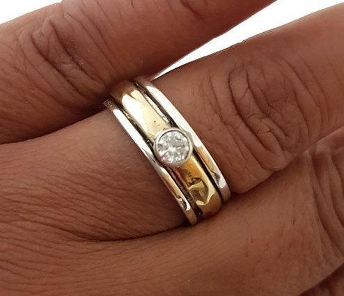 Свадьба - Cubic Zirconia Spinner Ring Narrow Silver/Brass, Birthstone Jewellery, CZ Spinner Ring, Unusual Wedding Band, Worry Ring Mistry Gems, SP46CZ