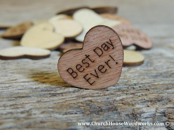 Hochzeit - Best Day Ever! Wood Hearts- Wood Burned 100 count