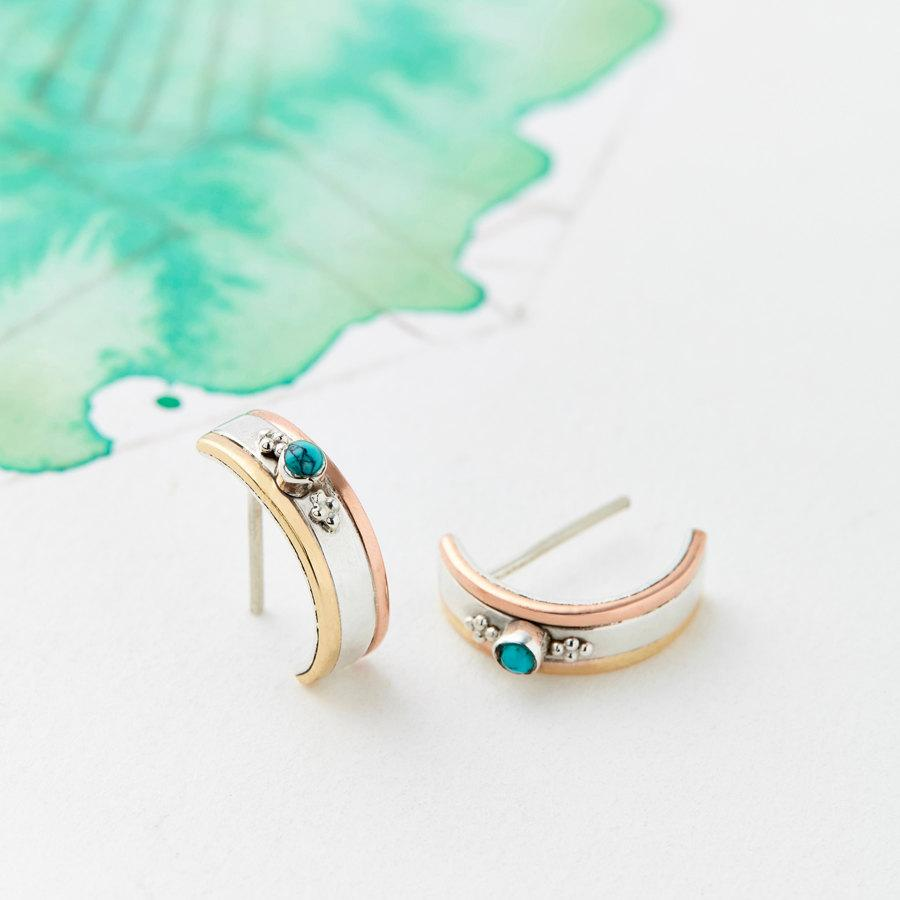Düğün - Hoop Earrings, Stud Earrings, Boho Earrings, Bridesmaid Earrings, Turquoise Earrings, Silver Earrings, Small Hoops, Everyday Earrings JE229