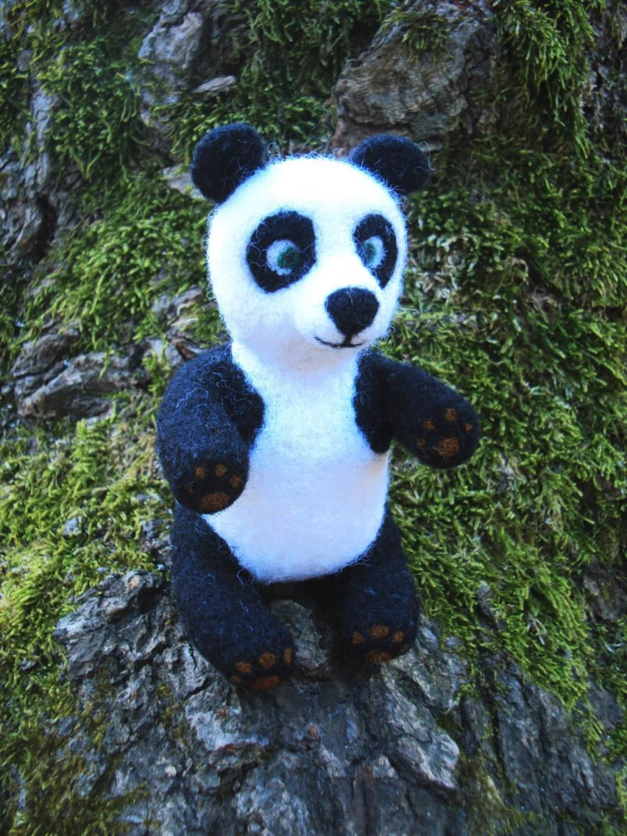 Boda - Kids soft toy. Panda bear. Needle felting, wool felt, wool toys, gift for friend, art doll, animal felted