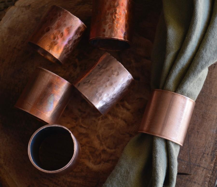 Mariage - Copper napkin rings - textured, fired, smooth industrial dining tabletop decor housewarming gift wedding autumn unique spring table easter