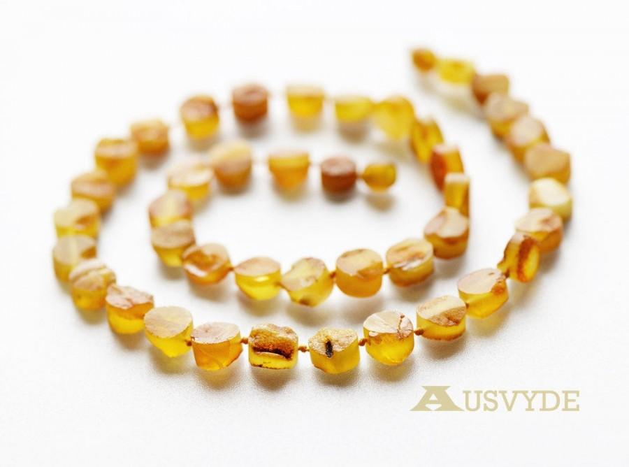 Mariage - Light honey Raw amber necklace for adults. Long amber necklace. Natural Baltic amber beads. ~52 cm long. 6101