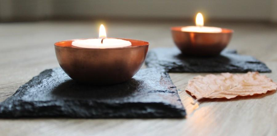 Düğün - Slate and Copper Tea Light Holder, Tea Light Holder, Copper Tea Lights, Copper and Slate, Copper, Copper Homewares