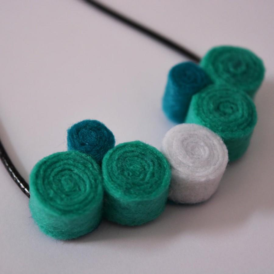 Wedding - Handmade felt pendant necklace spirals green turquoise white