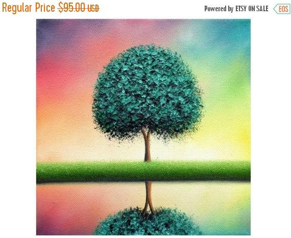 Wedding - Textured Palette Knife Painting, ORIGINAL Oil Painting on Canvas, Multicolored Abstract Art, Green Tree Painting, Contemporary Wall Art, 8x8