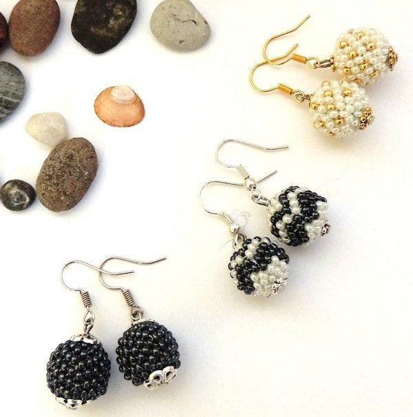 Wedding - Beaded Ball Earrings - Hematite White Gold Seed Beads Earrings - Seed Bead Globe Earrings - Peyote Beaded Earrings