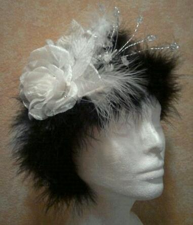 Mariage - Russian Goddess Marabou Headpiece (Free Veil Or Bracelet With Purchase)