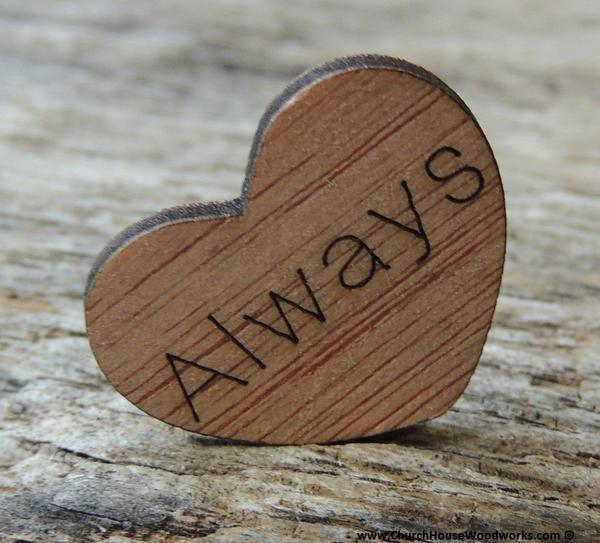 Wedding - Always Wood Hearts- Wood Burned 100 count