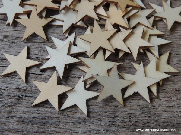 Hochzeit - 50 Little Wood Stars Very Small 1-1/2 inch size