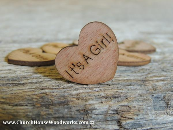 Mariage - It's A Girl! Wood Hearts- Wood Burned 100 count