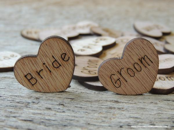 "Wedding - Bride Groom Wood Hearts ~ 100 count 1"""