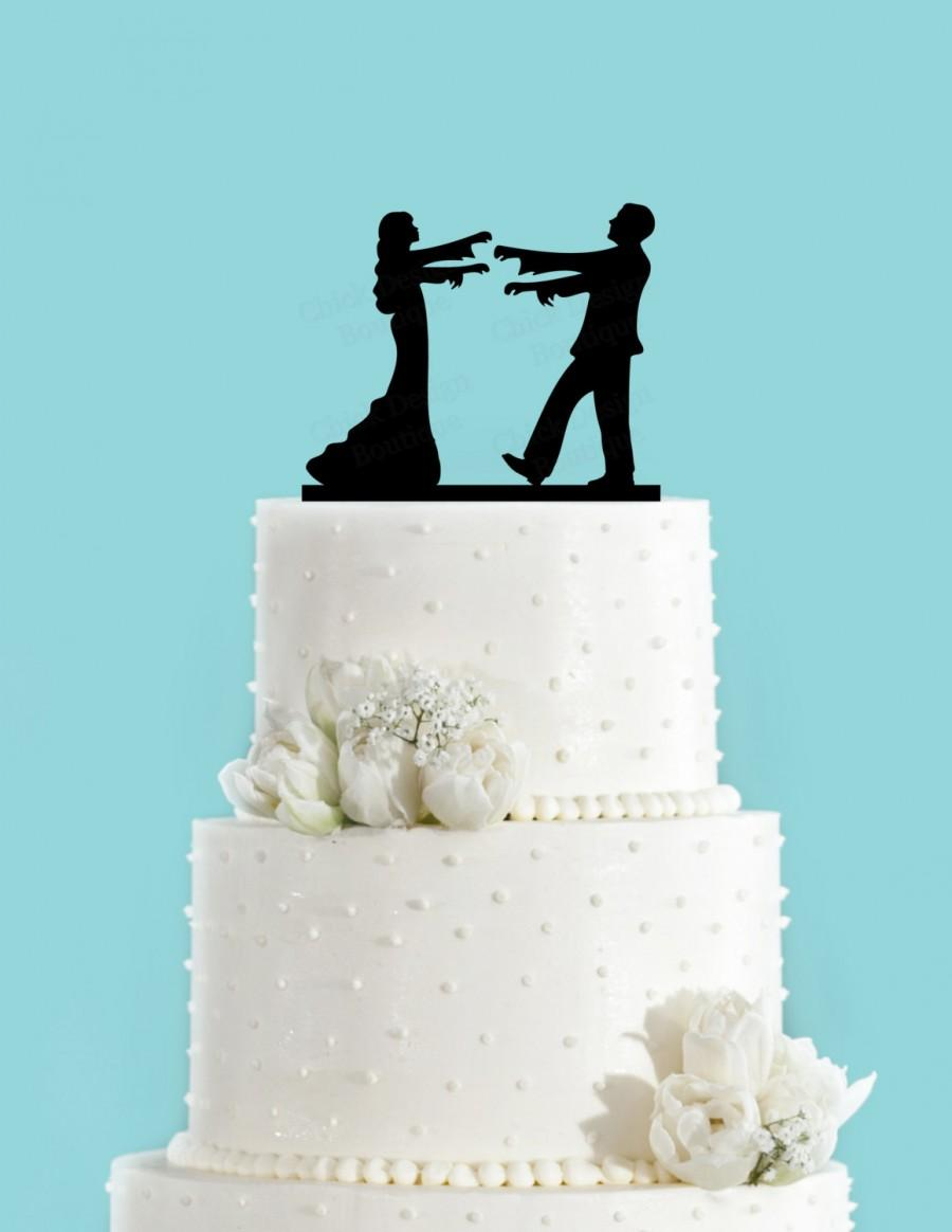 Zombie Bride And Groom Cake Topper, Halloween Themed Wedding Cake ...