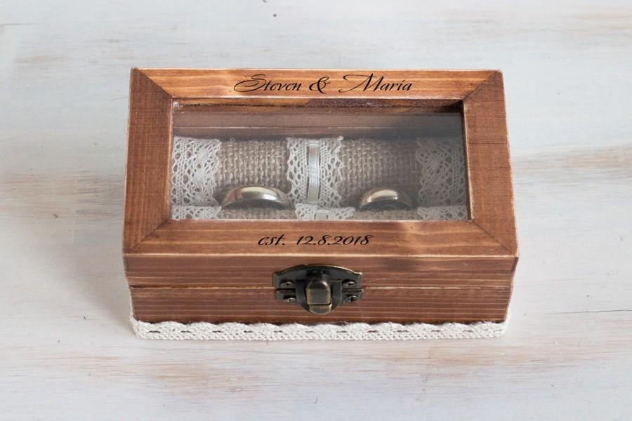 Hochzeit - Personalized Wedding ring box Glass ring bearer box Wedding box Engraved ring box Proposal box Custom ring box Wedding holder Jewelry box