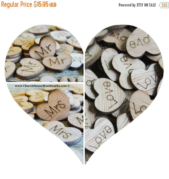Hochzeit - SUPER WINTER SALE 300 Wood Heart Confetti Combo Pack Love Wood Hearts, Wood Confetti Engraved Love Hearts- Rustic Wedding - Table Decoration