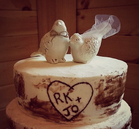Wedding - Love Birds Cake Topper / Cake Topper / Wedding Cake Topper / Rustic Bird Cake Topper / Natural Cake Topper
