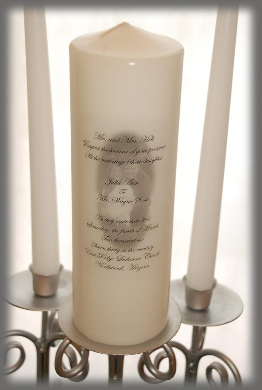 Hochzeit - Personalized Unity Candle SET With Your Picture And Invitation Wording, wedding candles, weddings, wedding decorations