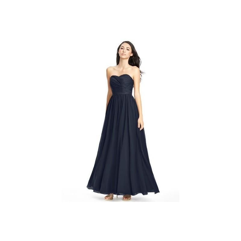 Wedding - Dark_navy Azazie Lilou - Chiffon And Lace Sweetheart Back Zip Floor Length Dress - Charming Bridesmaids Store
