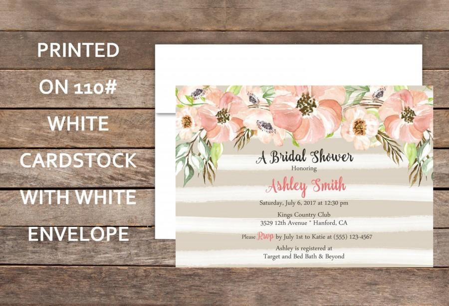 Pink Floral Bridal Shower, Striped Peach And Taupe Bridal Shower ...