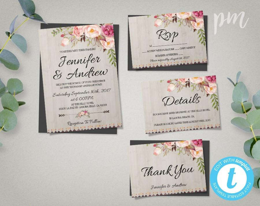 Bohemian Wedding Invitation Template Suite Boho Wedding