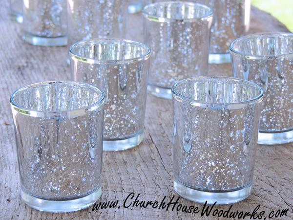 Wedding - 12 Silver Mercury Glass Votive Holders