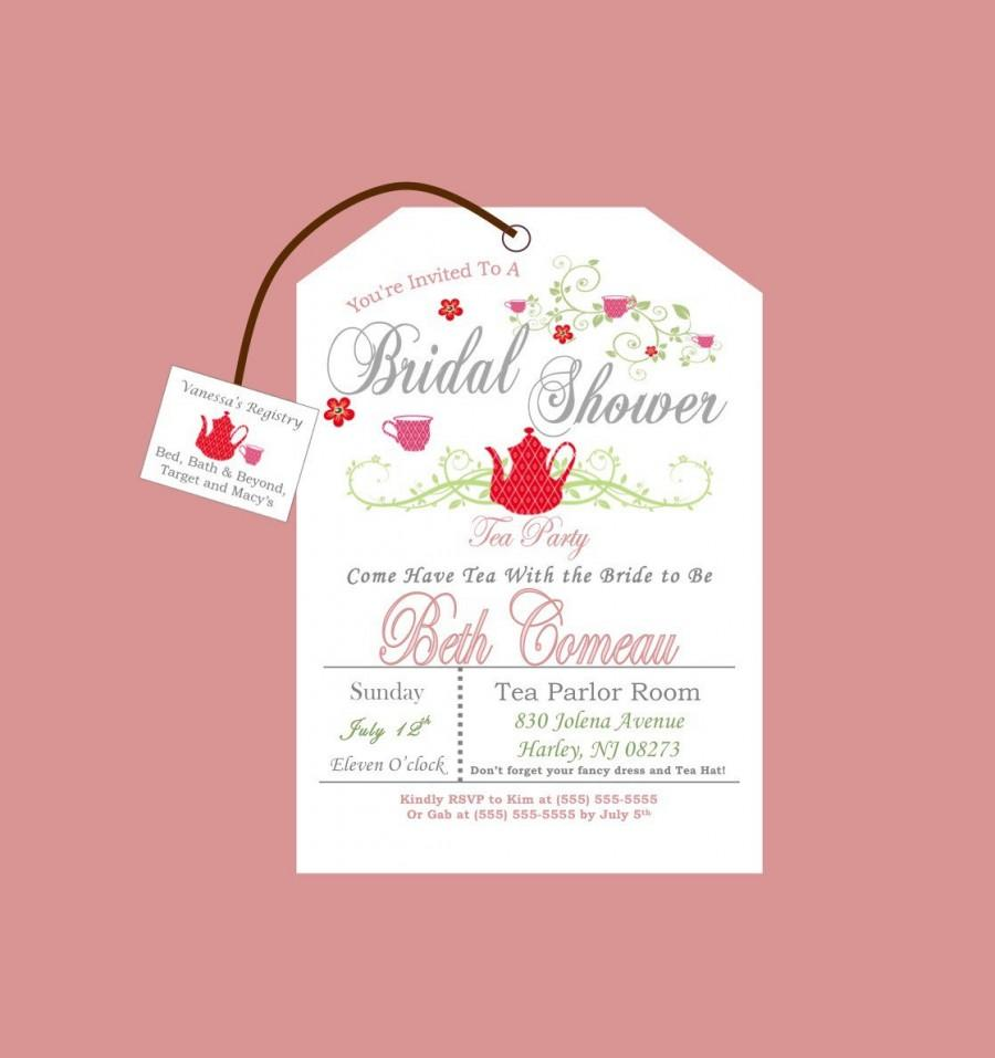 picture about Printable Tea Party Invitations called Printable Tea Get together Bridal Shower Invitation Layout #2