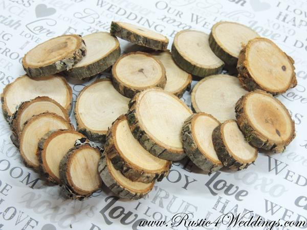 Wedding - 100 Wood Slices - 1 to 1.5 inch diameter