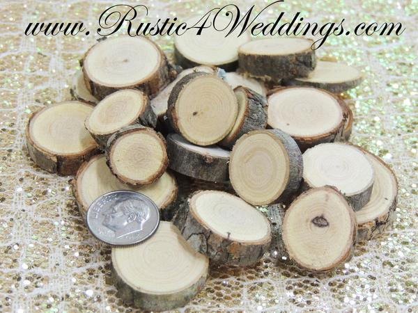 زفاف - 100 qty- Tiny Wood Slices .5 to 1 inch