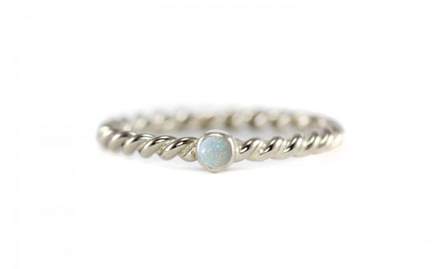 Wedding - Genuine Australian White Opal Ring with Twisted Band - 14k Palladium White Gold, Rose Gold, Yellow Gold, 950 Palladium - Promise Ring