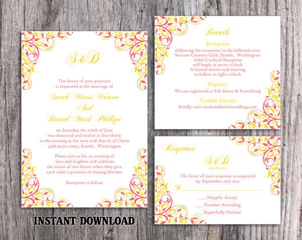 Wedding Invitation Template Download Printable Wedding Invitation Editable  Coral Invitations Elegant Pink Invitations Yellow Invites DIY   $15.90 USD