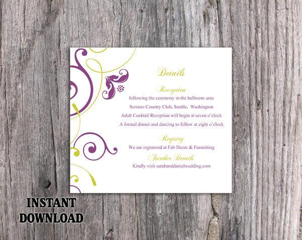 Свадьба - DIY Wedding Details Card Template Download Printable Wedding Details Card Editable Green Purple Details Card Elegant Enclosure Cards Party - $6.90 USD