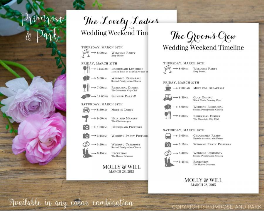 Bridal Party Wedding Timeline Printed Cards  Wedding Itinerary