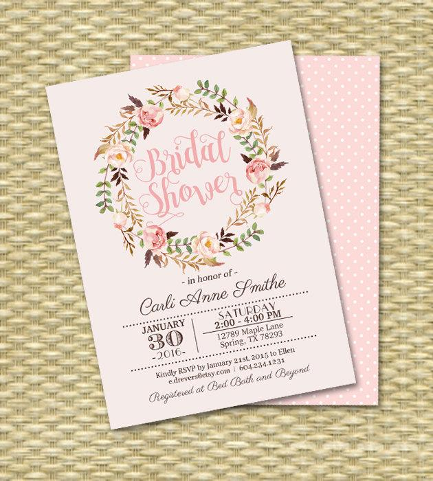 Hochzeit - Printable Bridal Shower Invitation Watercolor Roses Floral Typography Bridal Shower Blush Pink Rose Peach Bridal Tea ANY EVENT