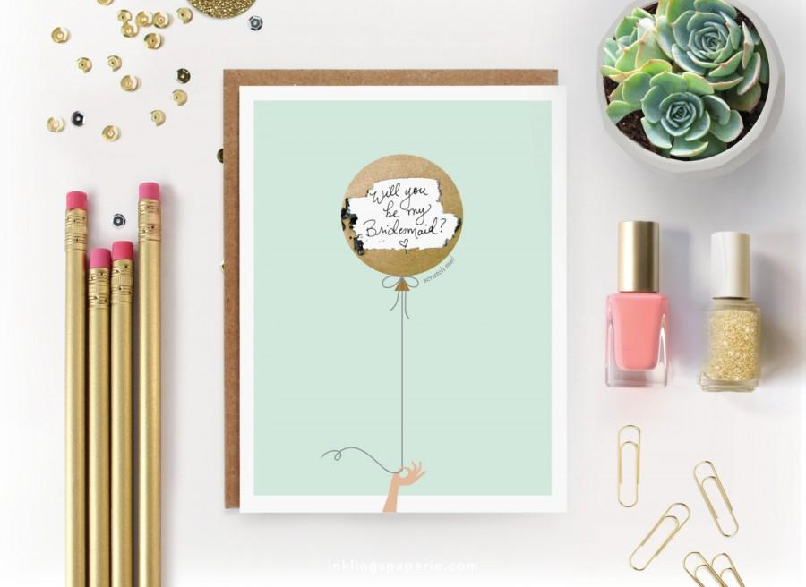"Hochzeit - Scratch-off ""Will You Be My Bridesmaid? / Maid of Honor?""  Write-in Invitation // Mint with Gold Foil Balloon"