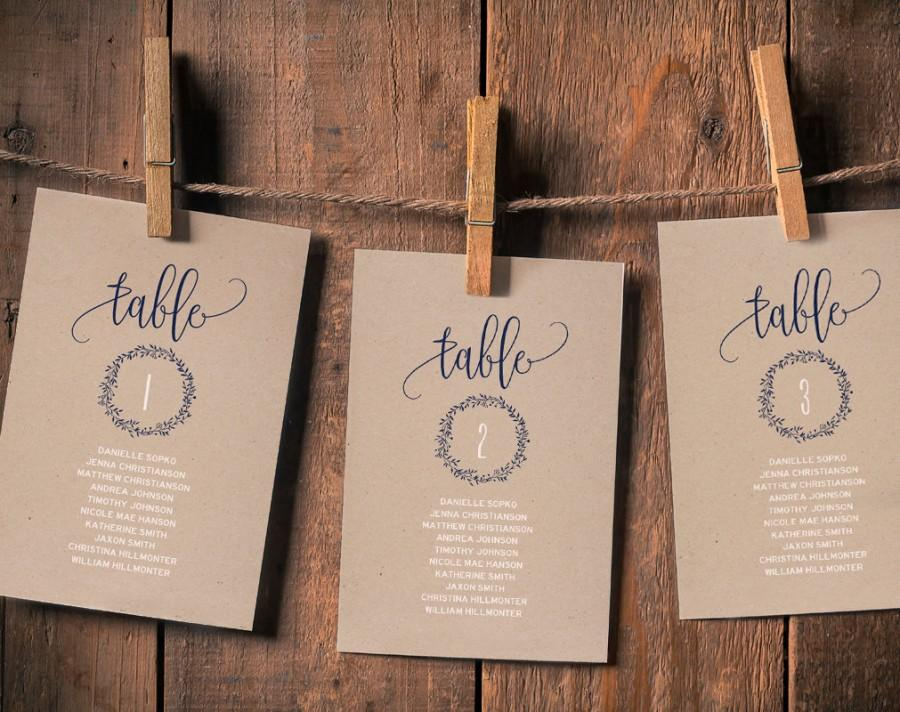 Wedding Seating Chart Plan Template Cards Navy Blue PDF Instant Download BPB219 5