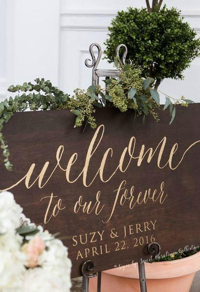 Свадьба - Welcome to Our Forever Wedding Sign - Large Wooden Wedding Welcome Sign - Rustic Wedding Welcome Sign - WS-224