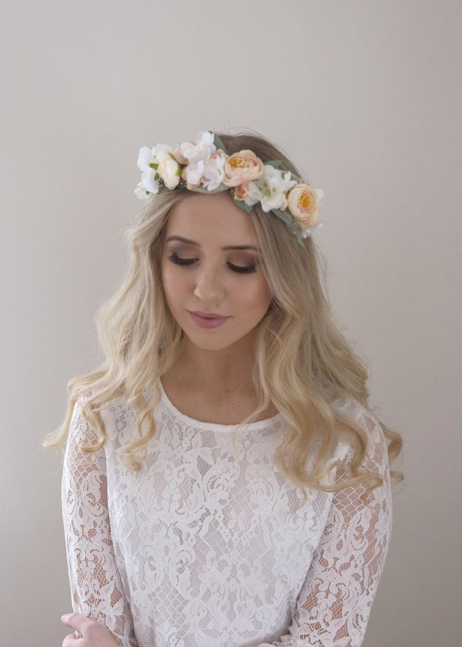 Nozze - Blush Flower Crown- Bridal Floral Halo- Baby's Breath Flower Headband- Wedding Crown- Flower Circlet- Pastel Flower Crown- Wedding Headpiece
