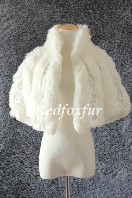 زفاف - Fashion Ivory Fake fur Wrap Wedding dress Fake fur shawl Stole Bridesmaid Bolero Shrug Woman Cloak Jacket Winter Bride Coat Cape Warm