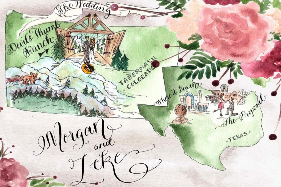 Whimsical Wedding Map Love Story Custom Ilration For Bride And Groom Unique Guest Book