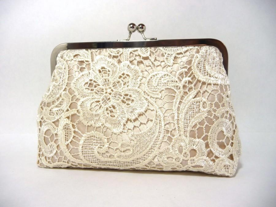 Свадьба - Champagne Lace Bridal Clutch, Satin Bridal Purse, Ivory Lace Bridesmaid Clutch Eight inch Frame,