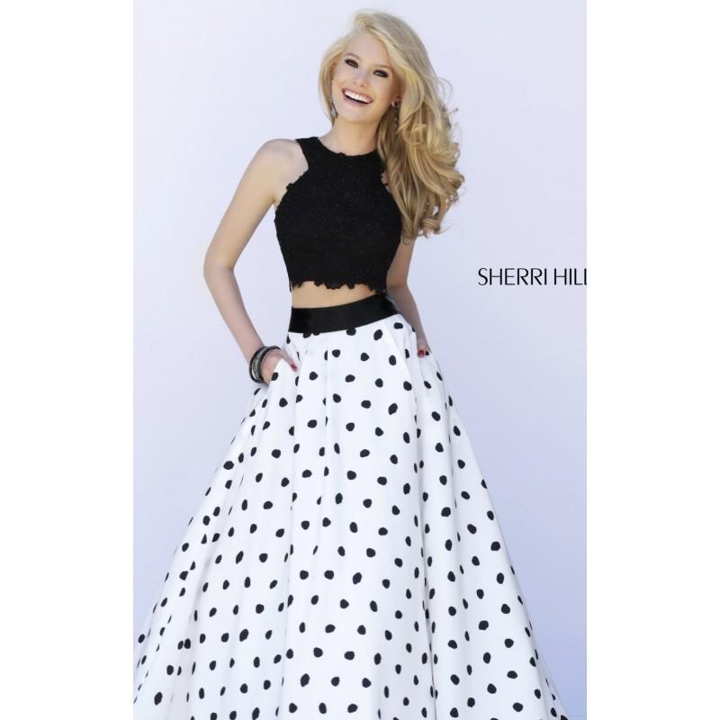 Wedding - Polka Dot Two Piece Set Gown Dresses by Sherri Hill 32215 - Bonny Evening Dresses Online